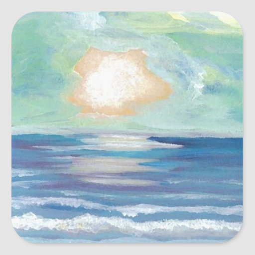 Beach Sunset - CricketDiane Ocean Art Square Stickers