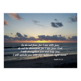 Beach Sunset Isaiah 41:10 Print