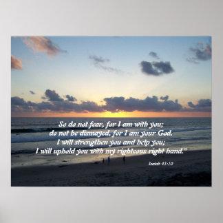 Beach Sunset Isaiah 41:10 Print Poster