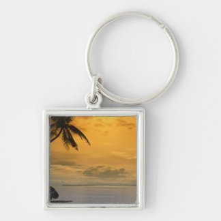 Beach sunset Silver-Colored square keychain