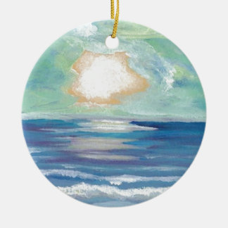 Beach Sunset Ocean Sea Surf Sun Gifts Ceramic Ornament