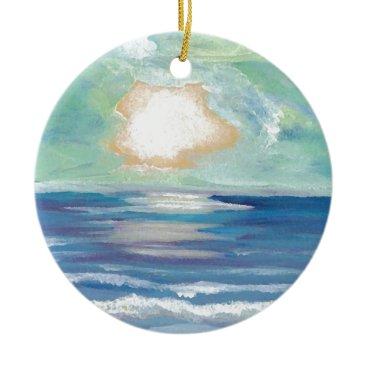 Beach Themed Beach Sunset Ocean Sea Surf Sun Gifts Ceramic Ornament