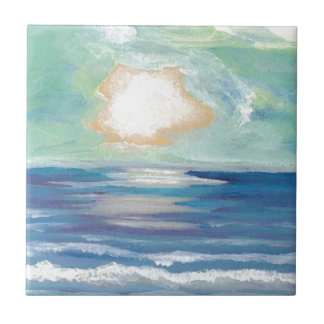 Beach Sunset Ocean Sea Surf Sun Gifts Ceramic Tile