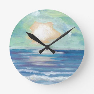 Beach Sunset Ocean Sea Surf Sun Gifts Round Clock