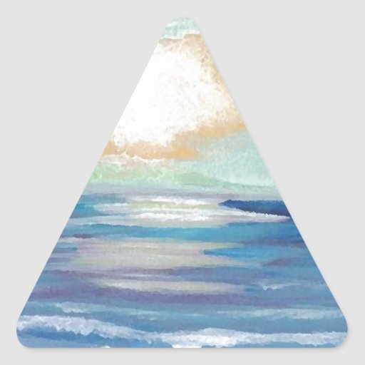 Beach Sunset Ocean Sea Surf Sun Gifts Triangle Stickers