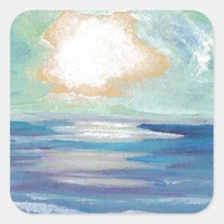 Beach Sunset Ocean Sea Surf Sun Gifts Square Sticker