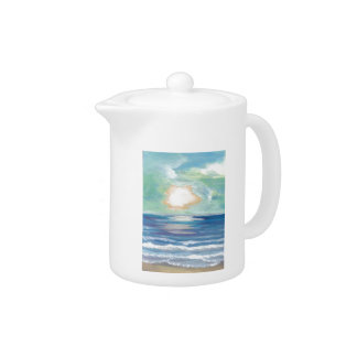 Beach Sunset Ocean Sea Surf Sun Gifts Teapot