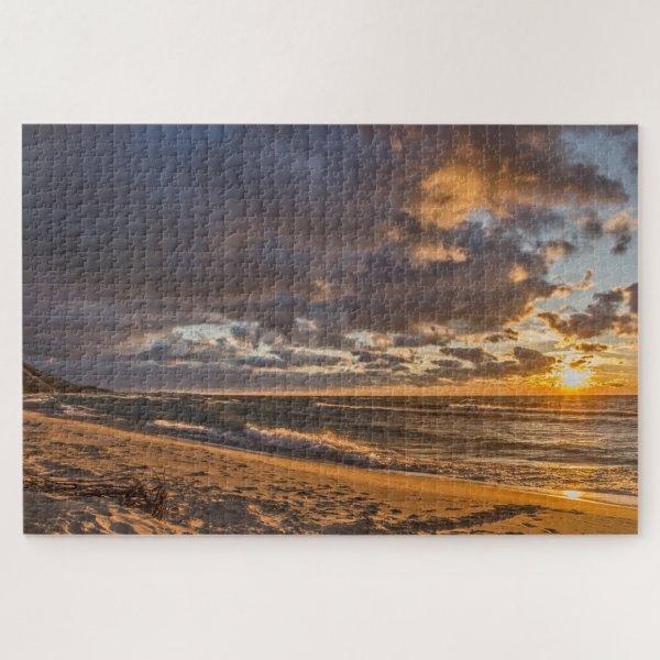 Beach Sunset on Lake Michigan Jigsaw Puzzle