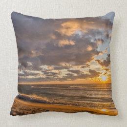 Beach Sunset on Lake Michigan Throw Pillow