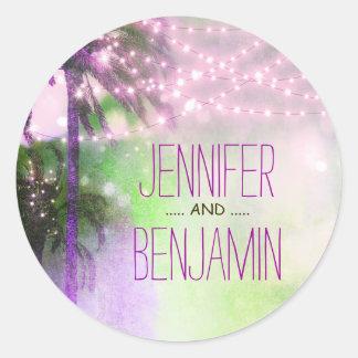 Beach Sunset Palm String Lights Purple Wedding Classic Round Sticker