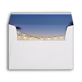 Beach Sunset Palm Tree String Lights 5x7 Invite Envelope