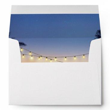 Beach Themed Beach Sunset Palm Tree String Lights 5x7 Invite Envelope