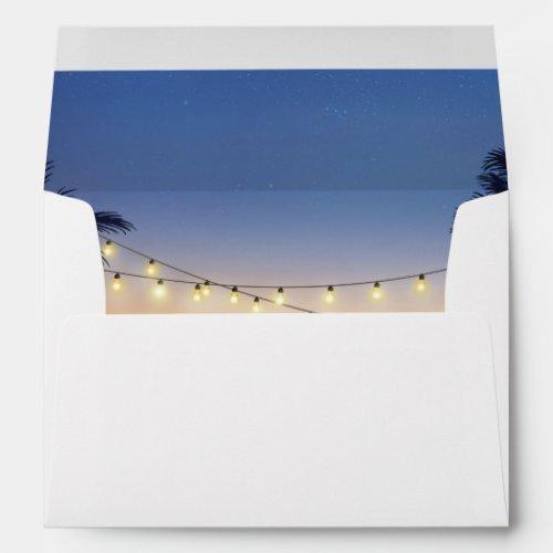 Beach Sunset Palm Tree String Lights 5x7 Invite Envelope