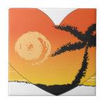 Beach sunset palm tree sun tropical orange art tile