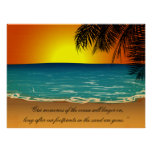 Beach Sunset Palm Trees Beach Quote Poster