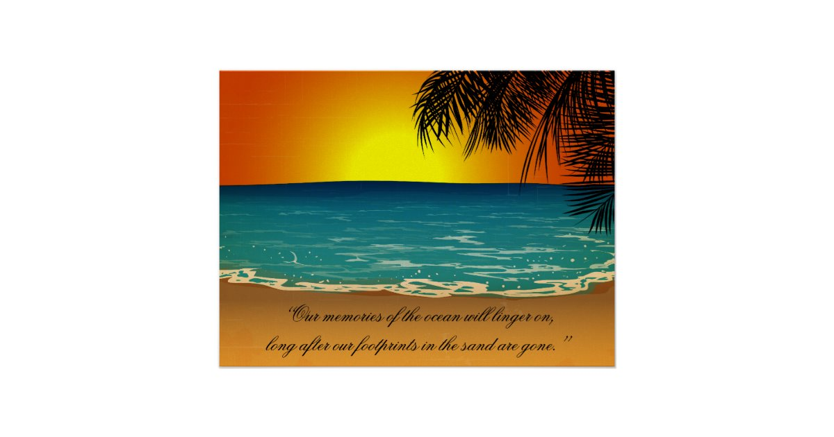 Beach Sunset Palm Trees Beach Quote Poster | Zazzle.com