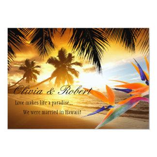 Beach Sunset Palm Trees Bird of Paradise Reception Card