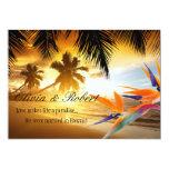 Beach Sunset Palm Trees Bird of Paradise Reception Custom Invitations