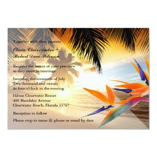 Beach Sunset Palm Trees Bird-of-Paradise Wedding Card