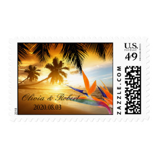 Beach Sunset Palm Trees Bird of Paradise Wedding Postage Stamps