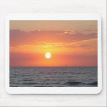 beach, sunset, palm trees, flowers, springtime mouse pad