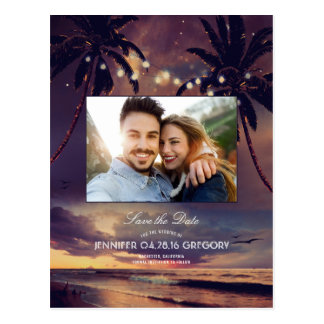 Beach Sunset Palms Lights Photo Save the Date Postcard