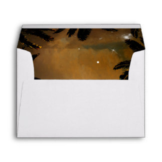 Beach Sunset Palms Romantic Wedding Envelope
