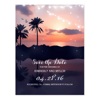 Beach Sunset Palms Save the Date Postcard