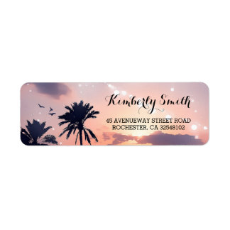 Beach Sunset Palms Wedding Label