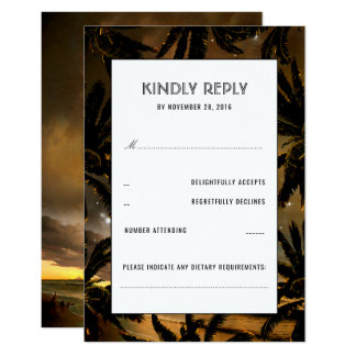 Beach Sunset Palms Wedding RSVP Cards