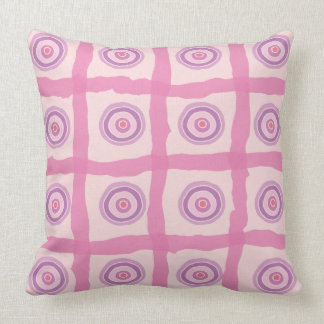 Beach Sunset Pink and Purple Circles and Ribbons Throw Pillow