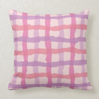 Beach Sunset Pink and Purple Gingham Throw Pillow