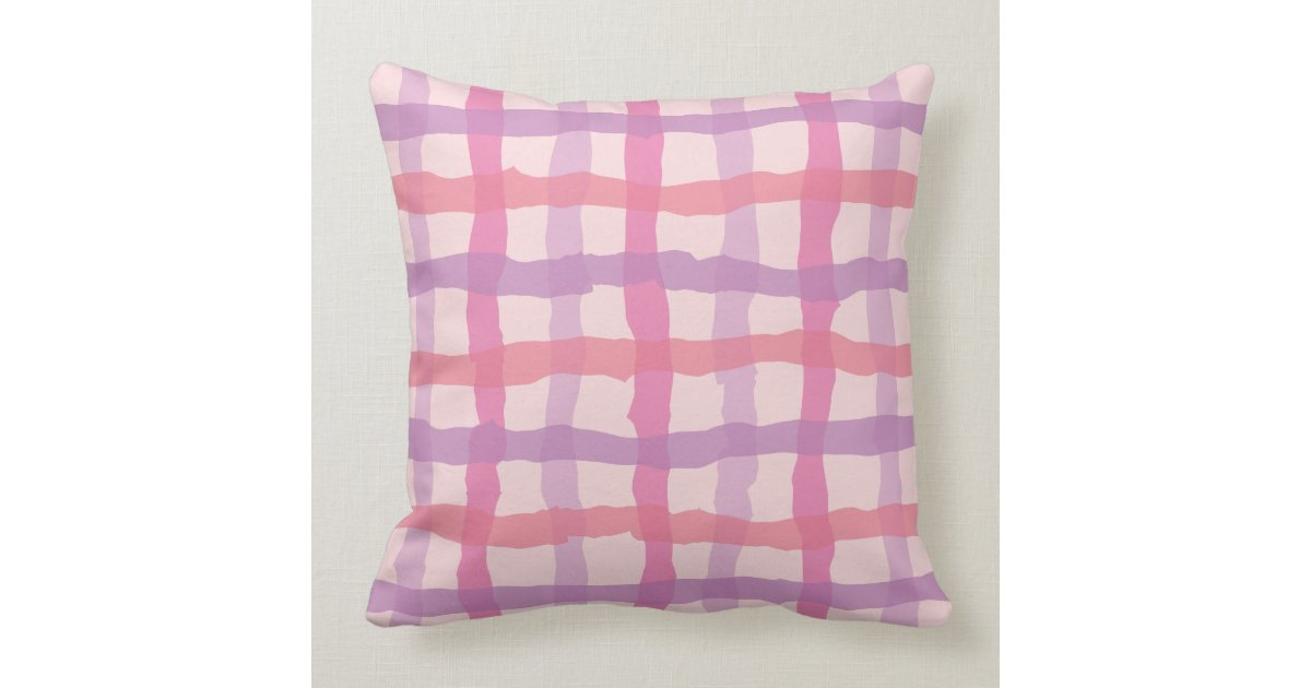 Beach Sunset Pink and Purple Gingham Throw Pillow Zazzle