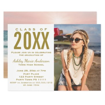 Beach Themed Beach Sunset Pink Gold Graduation Party with Photo Card