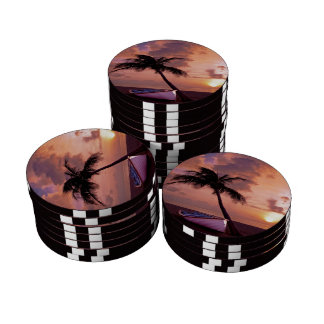 Beach Sunset Poker Chip Set