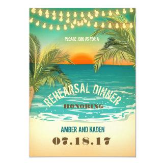 Beach Sunset Rehearsal Dinner Card