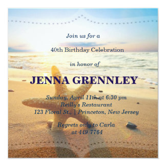 Beach Sunset Romantic Birthday Party Bridal Shower Card