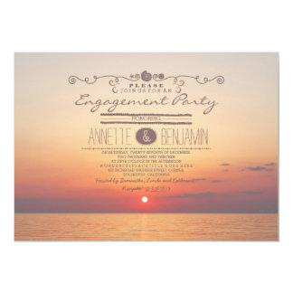Beach sunset romantic modern engagement party card
