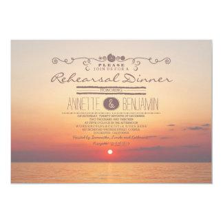 Beach sunset romantic modern rehearsal dinner card