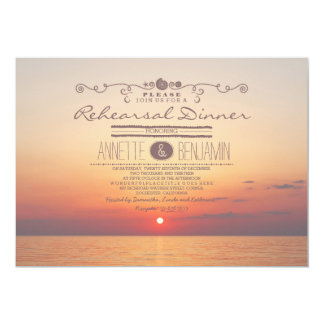 Beach sunset romantic modern rehearsal dinner 5x7 paper invitation card