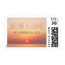 Beach Sunset Romantic Wedding Postage