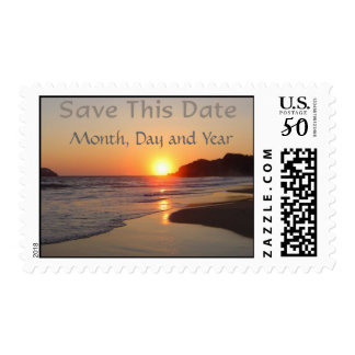 Beach Sunset Save The Date Postage