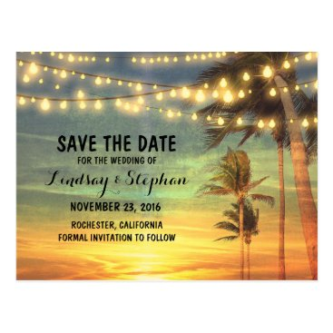 Beach Themed beach sunset save the date postcards