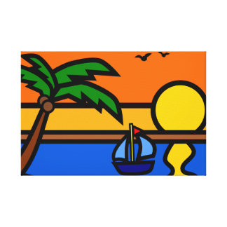 Beach Sunset Scene with Sailboat Canvas Print
