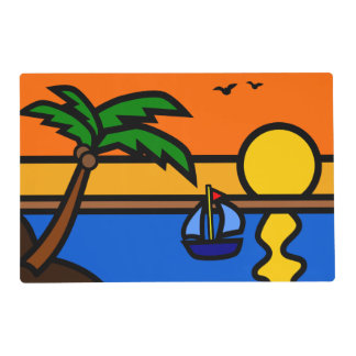Beach Sunset Scene with Sailboat Placemat