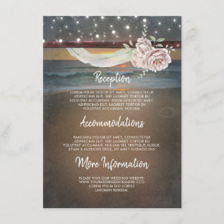 Beach Sunset Scenery Wedding Information Guest Enclosure Card