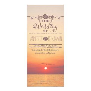 Beach Themed Beach sunset seaside wedding program card