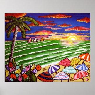 Beach Sunset Siesta Key Folk Art Poster
