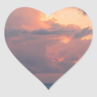 Beach Sunset Sky Destin Heart Stickers