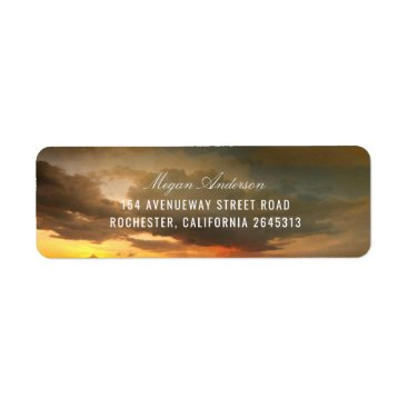Beach Themed Beach Sunset Sky Romantic Wedding Label